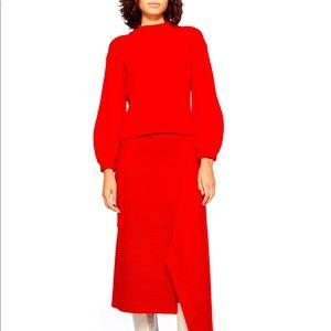 Tibi  Merino Rib Sweater Slit Neck Pullover NEW
